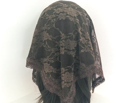 Large Brown Triangle Chapel Veil/Mantilla