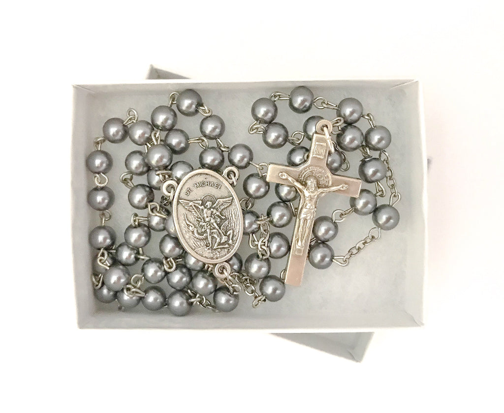 St Michael Silver/Gray Catholic Rosary