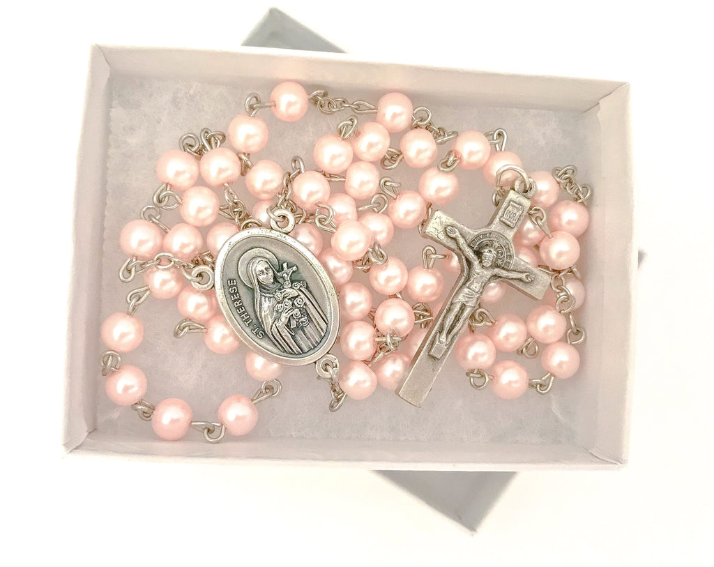 St Therese Pink Catholic Rosary