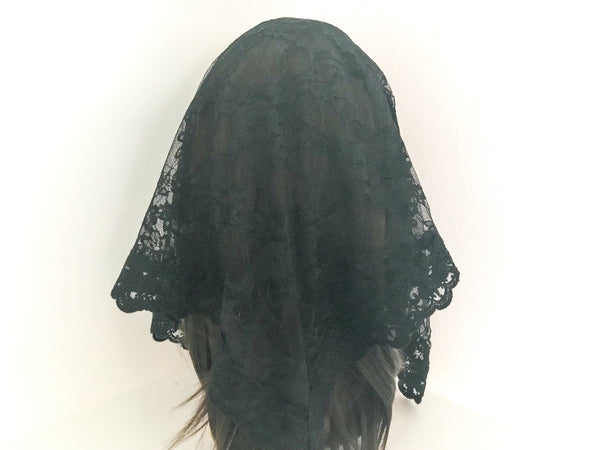 Large Black Triangle Chapel Veil/Mantilla