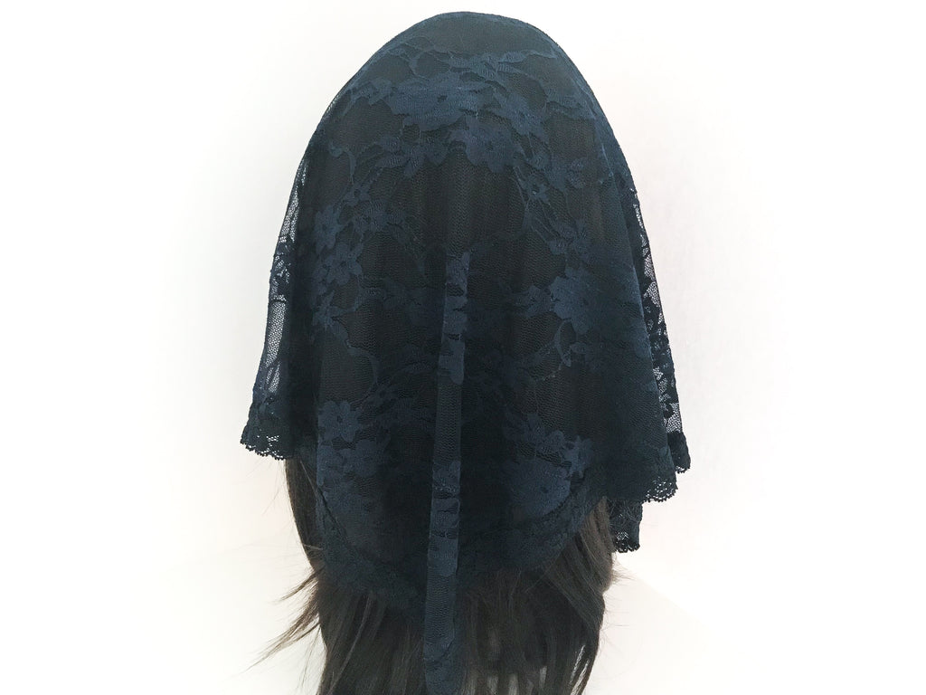 Large Navy Triangle Chapel Veil/Mantilla