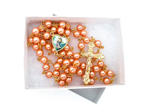Guardian Angel Gold Catholic Rosary