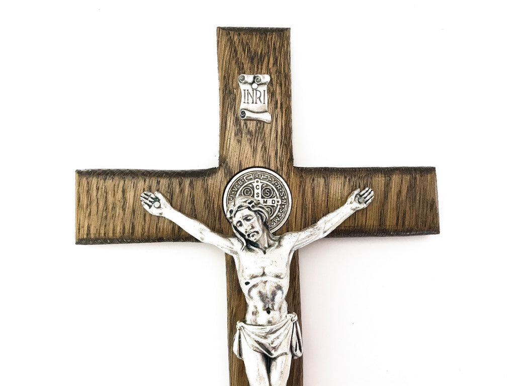 St Benedict Oak Wall Crucifix in Ebony Stain