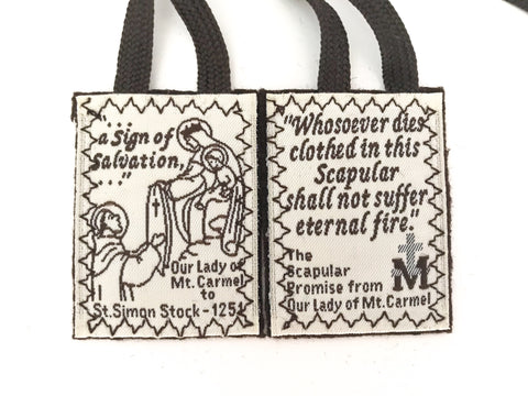 Catholic Brown Wool Scapular of Carmel (Single, Lot, or Bulk)