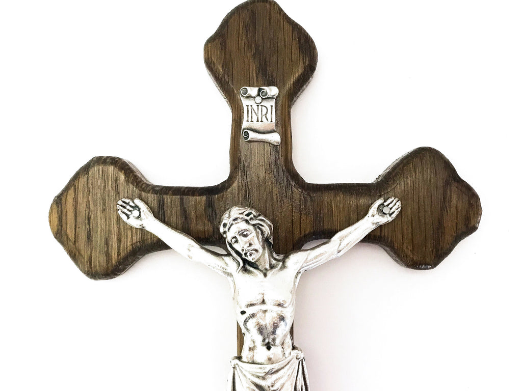 Decorative Oak Wall Crucifix in Ebony Stain