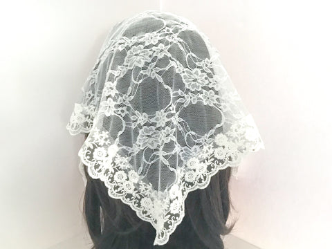 Small White Triangle Chapel Veil/Mantilla
