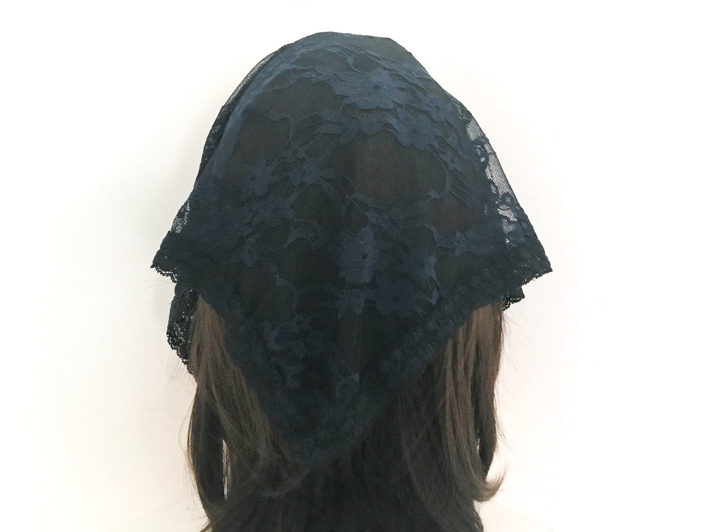 Small Navy Triangle Chapel Veil/Mantilla