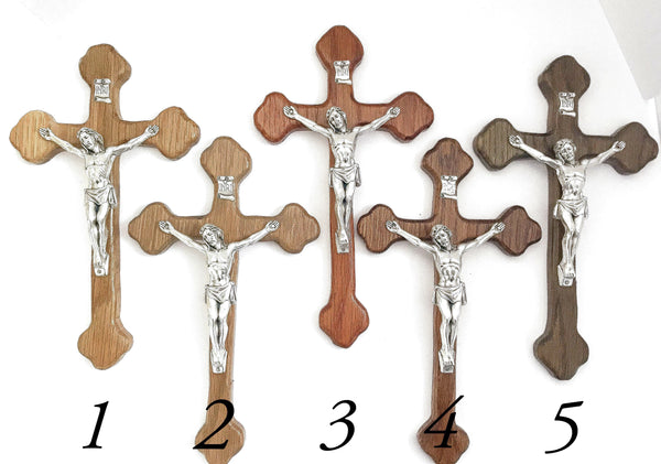 Decorative Oak Wall Crucifix in Walnut Stain