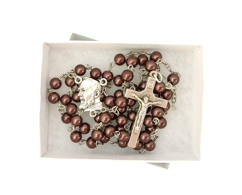 Padre Pio Brown Catholic Rosary
