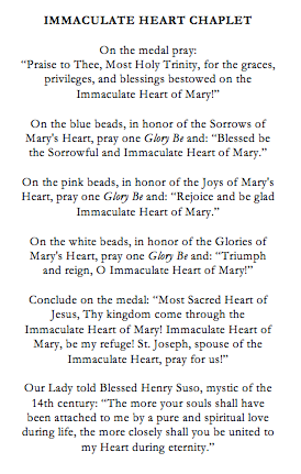 Immaculate Heart of Mary Catholic Chaplet