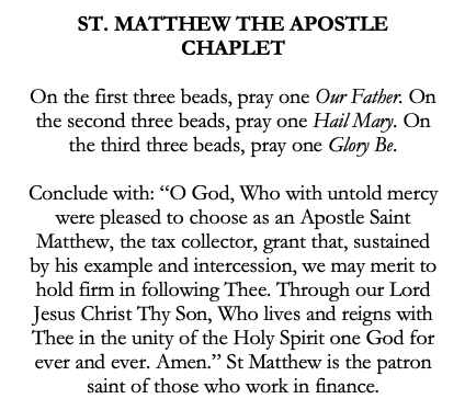 St Matthew the Apostle Catholic Chaplet for Finance