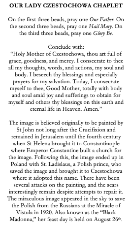 Our Lady of Czestochowa Polish Catholic Chaplet