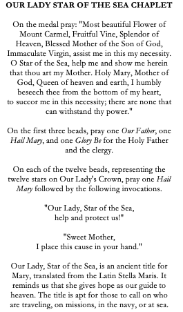 Our Lady Star of the Sea/Virgin of Carmel Catholic Chaplet