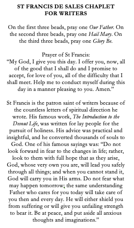St Francis de Sales Catholic Chaplet for Writers