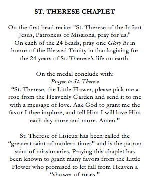 St Therese Catholic Chaplet