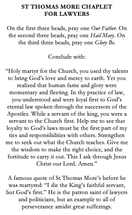 St Thomas More Catholic Chaplet for Lawyers