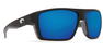 Costa Bloke Matte Black, Blue Mirror 580G Sunglasses, Glass