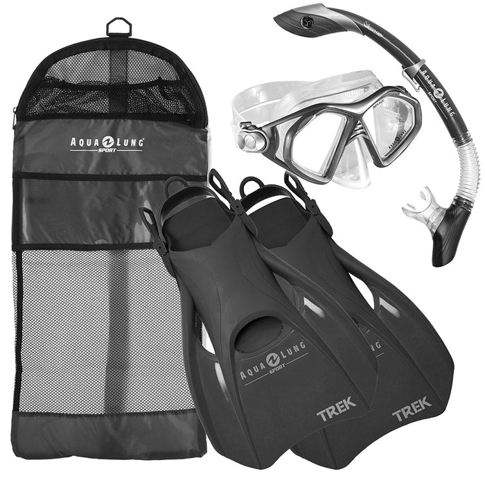 Aqua Lung Sport Admiral 2 LX Mask, Island Dry LX Snorkel, and Trek Fins Set