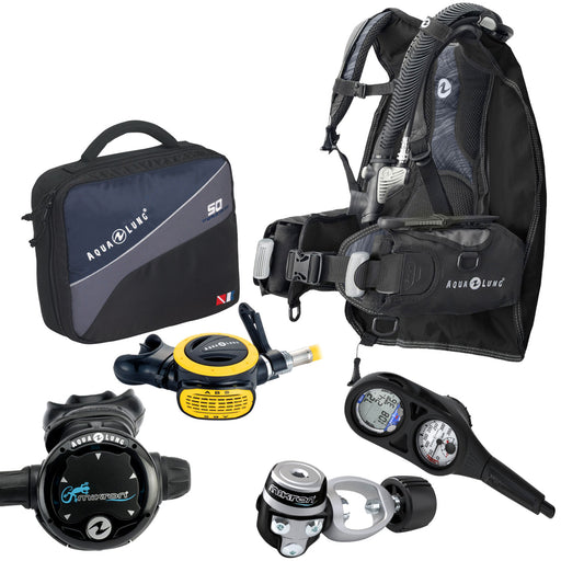 Aqua Lung 9 pound Travel Scuba Gear Package Assembled w/ GearUpGuide 6 Point Check List Traveler Reg Bag