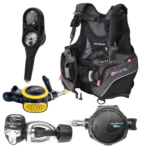 Aqua Lung Women's Scuba Gear Package - Pearl BCD, i300C Dive Computer, Titan / ABS Regulator Set