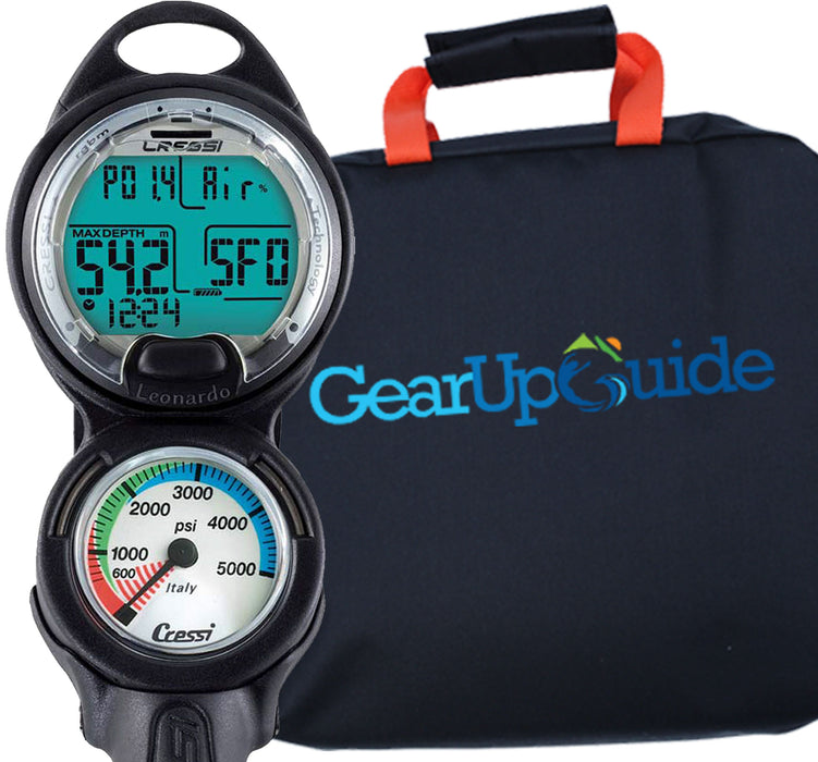 Cressi Leonardo Dive Computer, Scuba Diving Instrument w/ Watch Stand or GupG Reg Bag