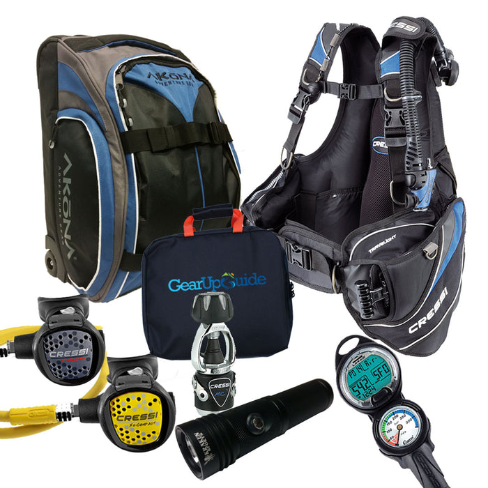 Cressi Travelight 15 LBS Scuba Diving Package Carry On Reg  Dive Computer GupG Reg Bag and or Kraken Dive Torch