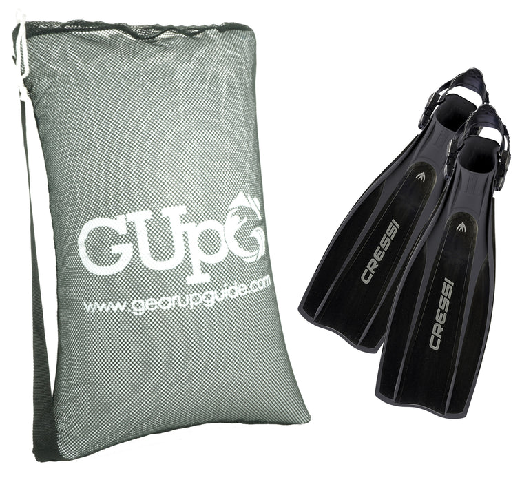 Cressi Pro Light Scuba Diving Fins (Made In Italy) GupG Mesh Bag