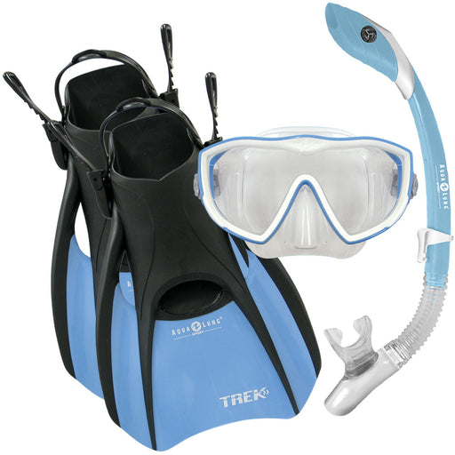 Aqua Lung Diva 1 LX Mask, Island Dry LX Snorkel, and Trek Fins Set