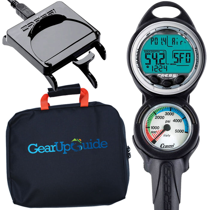 Cressi Giotto Dive Computer, Scuba Diving Instrument w/ Download Cable and Watch Stand or GupG Reg Bag