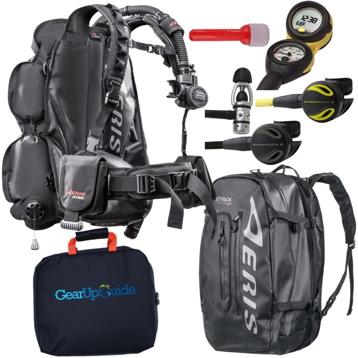 Oceanic Travel Scuba Package One Size Fits All JetPack BCD Dive Computer Reg Set Bundle 5-6