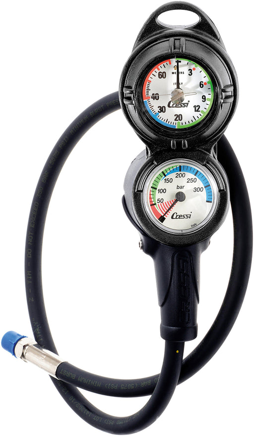 Cressi Console PD2 Pressure Gauge and Analogue Depth Gauge, Imperial