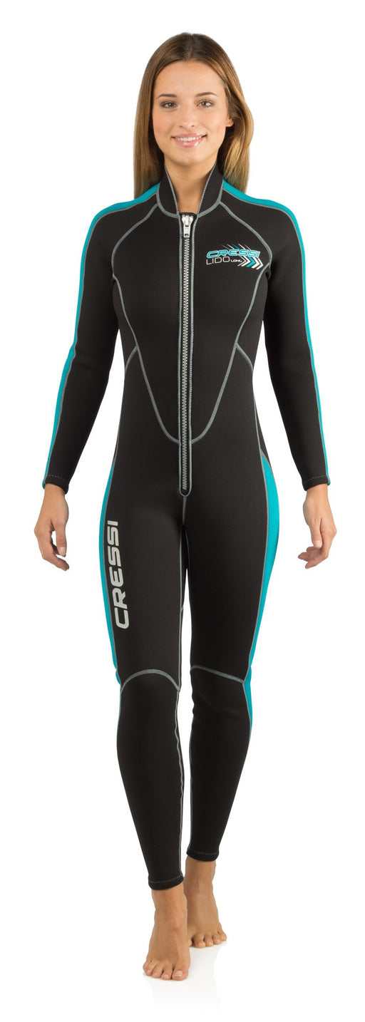 Cressi Lido Women's 2mm Long Wetsuit Black/Azure
