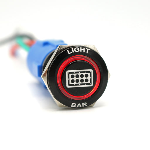 Billetworkz Light Bar Push Button Switch LED ON/OFF 19mm 12V