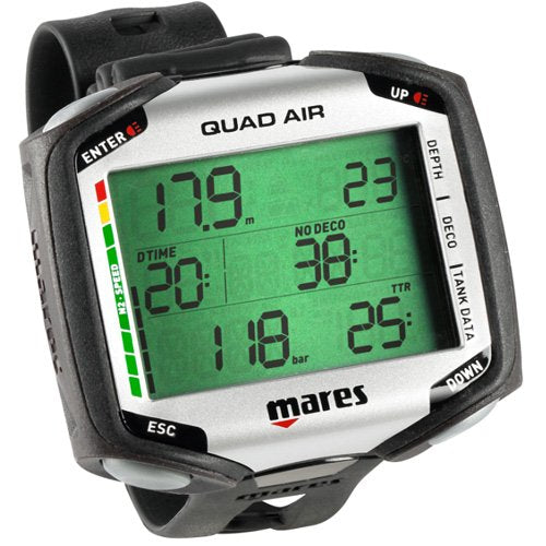 Mares Quad Air Scuba Diving Wrist Computer, Black