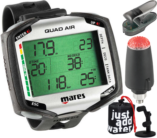 Mares Quad Air Scuba Diving Wrist Computer with Watch Stand Package