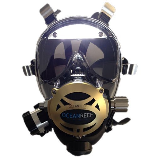 Ocean Reef Neptune Space Predator w/ Pre-assembled Visor Lights, Black, Medium/Large