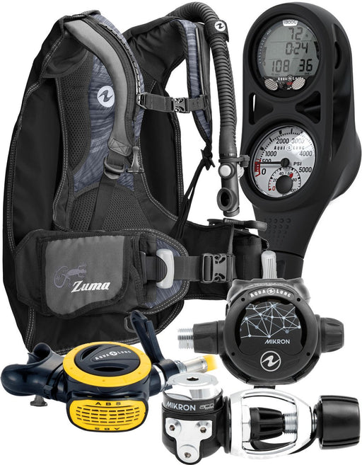 Aqua Lung Travel Scuba Gear Package Zuma BCD i300C Dive Computer Micron Reg Set