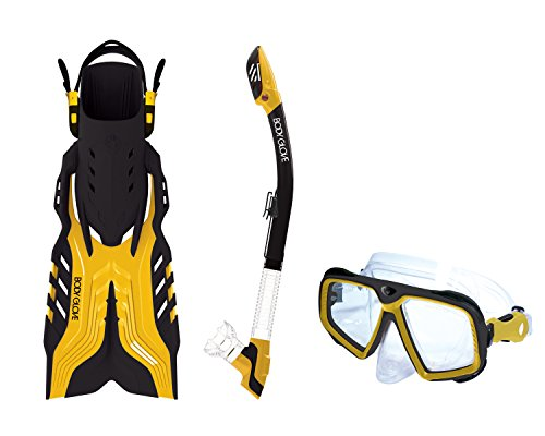 Body Glove Rapeedo Mask, Snorkel & Fin Set, Yellow, S/M