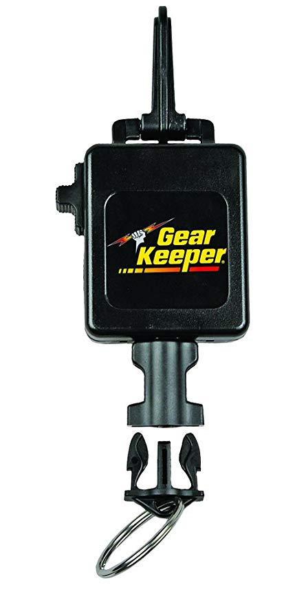 "Gear Keeper RT3-0013 Locking Scuba Console 24oz Force Retractor Snap Clip Mount 32"" Extension with QCII Split Ring"