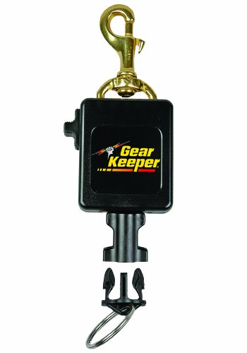 "Gear Keeper RT3-0082 Locking Scuba Flashlight 12oz Force Retractor Brass Snap Clip Mount 42"" Extension with QCII Split Ring"