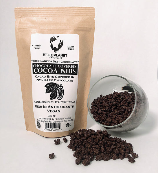 72% Dark Chocolate Covered Cocoa Nibs