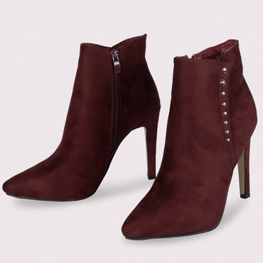 Suede Stiletto Boots - Mehroon