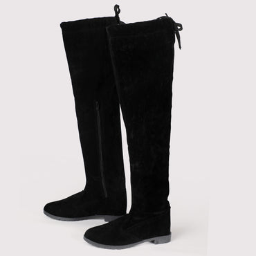 Flat Knee High Velvet Boots - Black