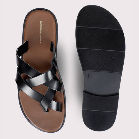 Criss-Cross Leather Slippers - Tan/Black
