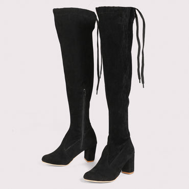 Velvet Knee High Boots - Black