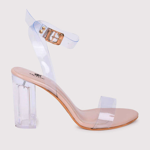 Clear Strap Tie Ups - Nude