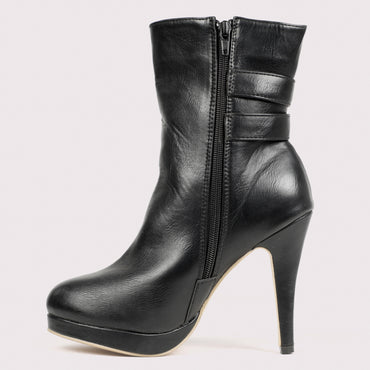 Twin Buckle Stilettoe Boots - Black