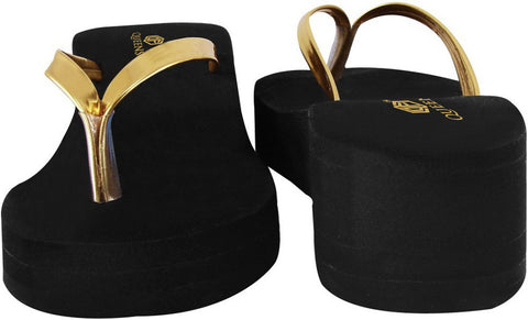 Gold Strap Slippers - Black