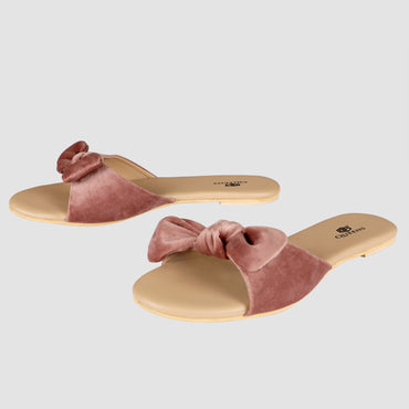 Velvet Bow Flats - Light Pink