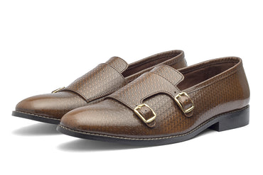 Jacob Monk Straps - Printed Cognac - Dapperfeet